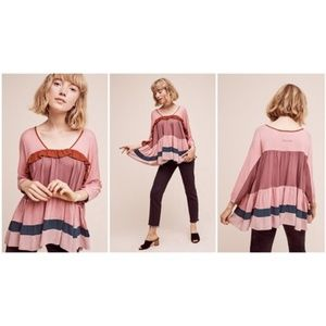 Anthropologie Meadow Rue Colorblock Ruffle Top